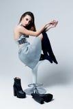 Woman in futuristic creative metallic costume Royalty Free Stock Image