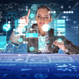 The woman in futuristic data mining concept Stock Images