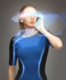 Woman in futuristic glasses Royalty Free Stock Image