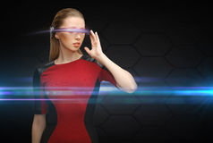 Woman with futuristic glasses royalty free stock photo