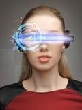Woman in futuristic glasses Stock Image