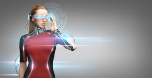 Woman with futuristic glasses and sensors Royalty Free Stock Photos