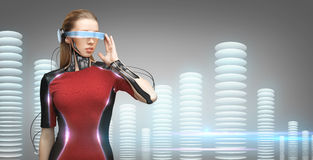 Woman with futuristic glasses and sensors Stock Photo