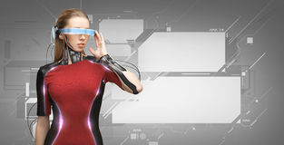 Woman with futuristic glasses and sensors Royalty Free Stock Photo