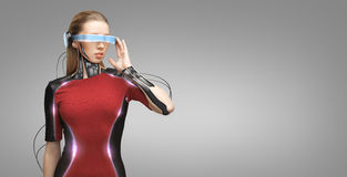 Woman with futuristic glasses and sensors Royalty Free Stock Images