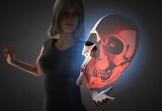 Woman and futusistic hologram Royalty Free Stock Images
