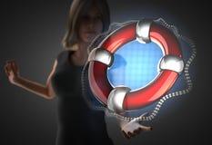 Woman and futusistic hologram Royalty Free Stock Image