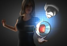 Woman and futusistic hologram royalty free stock image