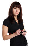 Woman with gadget with touch screen. Stock Photos