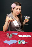 Woman gambling at the casino Royalty Free Stock Image