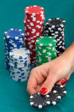 Woman with gambling chips Stock Images