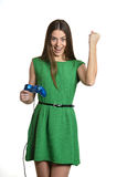 Woman with gamepad Stock Photo