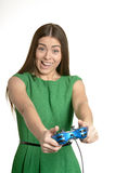 Woman with gamepad Royalty Free Stock Images