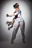 Woman gaming virtual reality Royalty Free Stock Photography