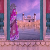 Woman on the Ganges. Indian woman with saree on a window near Ganges river stock photos