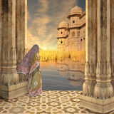 Woman on the Ganges. Royalty Free Stock Images