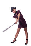Woman gangster. With baseball bat Royalty Free Stock Photos