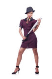 Woman gangster. With baseball bat Royalty Free Stock Photography