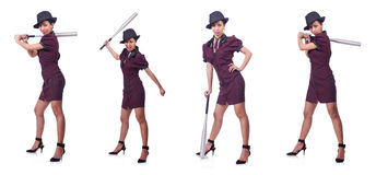 The woman gangster with baseball bat. Woman gangster with baseball bat Stock Images