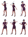 The woman gangster with baseball bat. Woman gangster with baseball bat Royalty Free Stock Photo