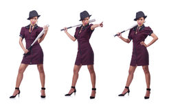 The woman gangster with baseball bat. Woman gangster with baseball bat Royalty Free Stock Image