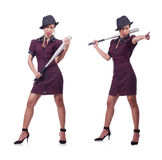 The woman gangster with baseball bat. Woman gangster with baseball bat Stock Photo