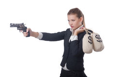 Woman gangster with gun. And money Royalty Free Stock Images