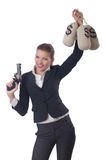 Woman gangster. With gun and money Royalty Free Stock Photography