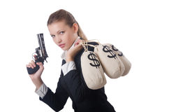 Woman gangster with gun. And money Stock Photo