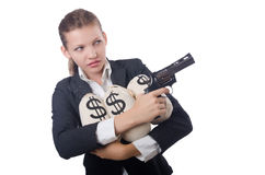 Woman gangster with gun. And money Stock Image