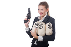 Woman gangster with gun. And money Royalty Free Stock Photos