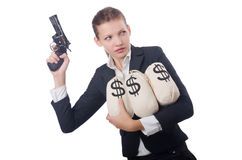Woman gangster. With gun and money Royalty Free Stock Photo