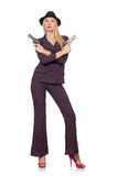 Woman gangster with gun Royalty Free Stock Photography