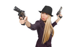 Woman gangster with gun. In vintage concept Stock Photo