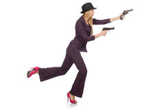 Woman gangster with gun. In vintage concept Royalty Free Stock Photos