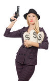 Woman gangster with gun. In vintage concept Stock Photos