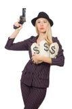 Woman gangster with gun Stock Photos