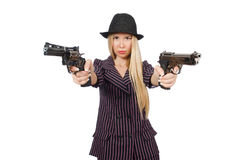 Woman gangster with gun. In vintage concept Royalty Free Stock Photo