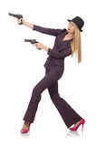 Woman gangster with gun. In vintage concept Stock Images