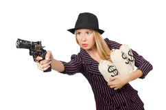 Woman gangster with gun. In vintage concept Royalty Free Stock Photography
