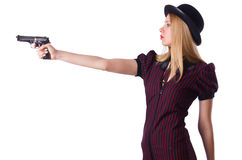 Woman gangster with handgun. On white Royalty Free Stock Image