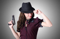 Woman gangster with handgun Royalty Free Stock Photography