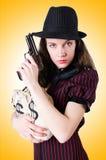 Woman gangster with handgun Stock Photography