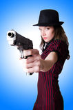 Woman gangster with handgun Stock Image
