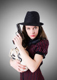 Woman gangster with handgun on white Royalty Free Stock Photos