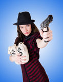 Woman gangster with handgun on white Royalty Free Stock Image