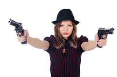 Woman gangster. Isolated on white Stock Images