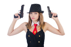 Woman gangster. Isolated on white Stock Photo