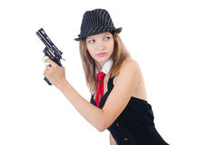 Woman gangster. Isolated on white Royalty Free Stock Image