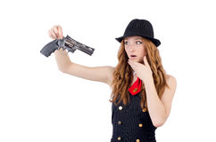 Woman gangster. Isolated on white Stock Image